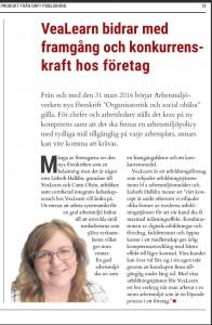 Aftonbladet bilaga Inriktning utbildning, - VeaLearn artikel, 20160324