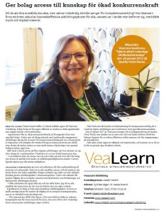 Bild på artikel om VeaLearn i Enterprize magazin, november 2016