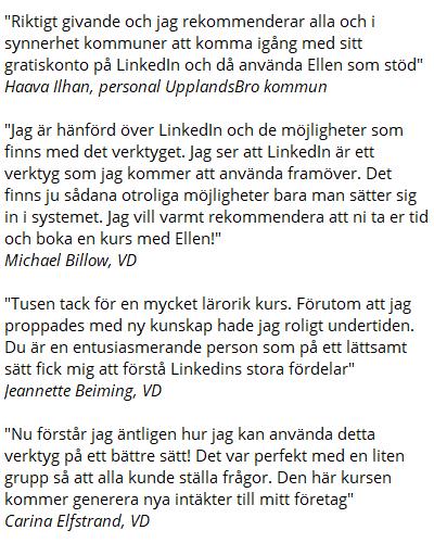 Kundreferenser Ellens LinkedIn kurs