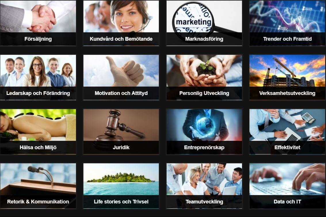 Föredrag online indelade i kategorier, bild